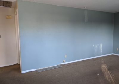 1. Hallway, wall, dirty carpet with mismatched patch
