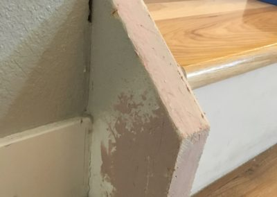 Damaged trim patched with wood filler