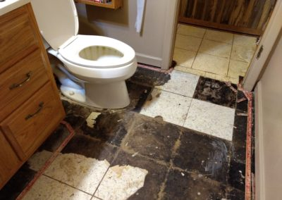Bathroom floor with carpet tack strips and some tiles removed and different damaged tiles in hallway