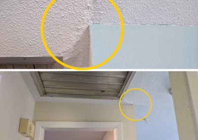2 close up pictures of ceiling drywall crack circled