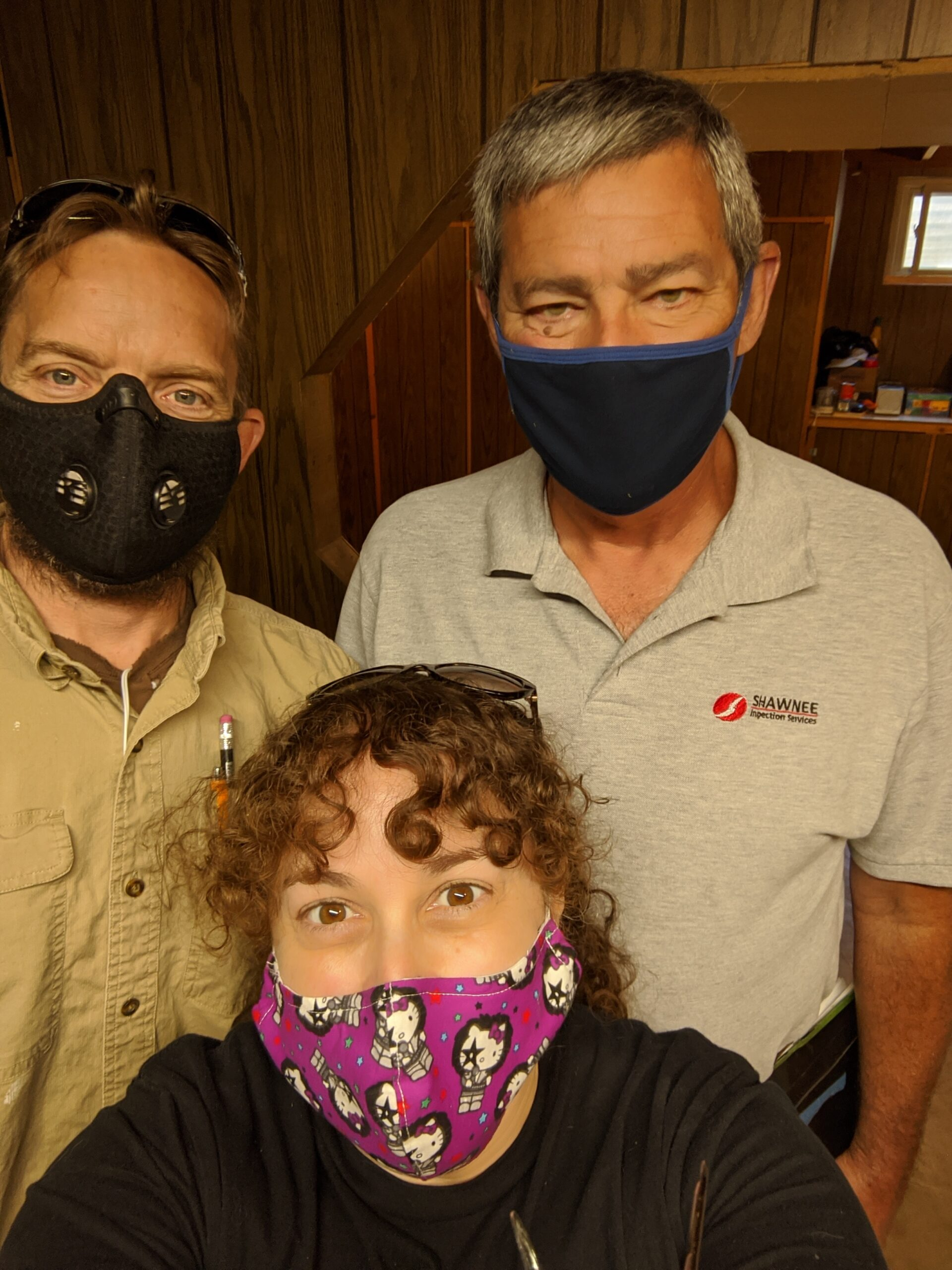 Home Inspections during COVID-19: General contractors & first-time homebuyers, Josh & Mim, and home inspector Dan all wore masks.