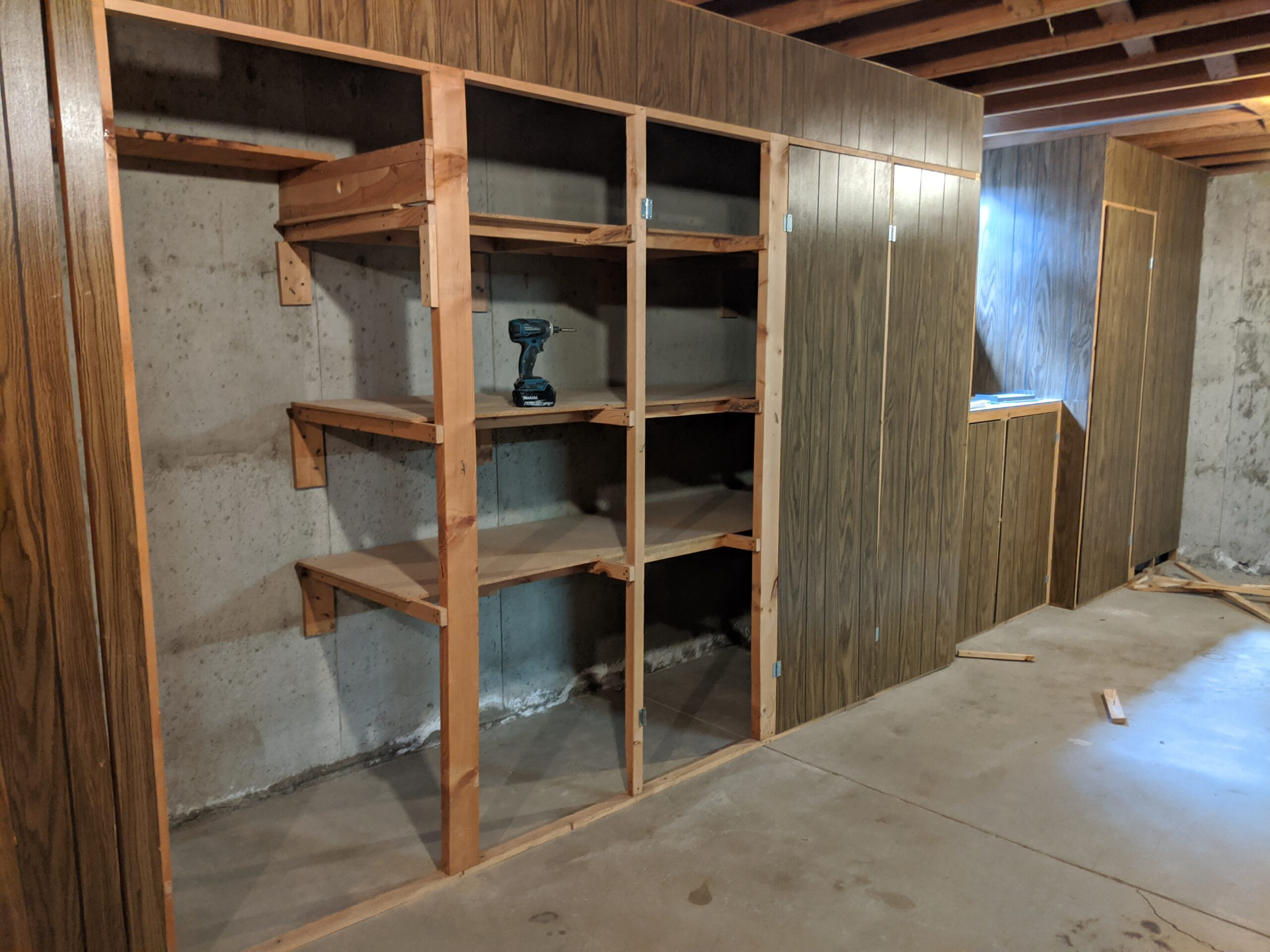 We'll replace these cabinets in the basement with a 100-square-foot storage room.