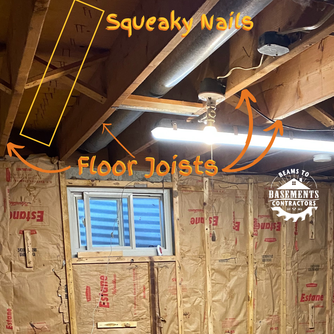 Look up! Before the basement ceiling was drywalled, we could see rows of nails (outlined in yellow in this picture) poking down through the subfloor in between the floor joists, instead of securing into the joists.