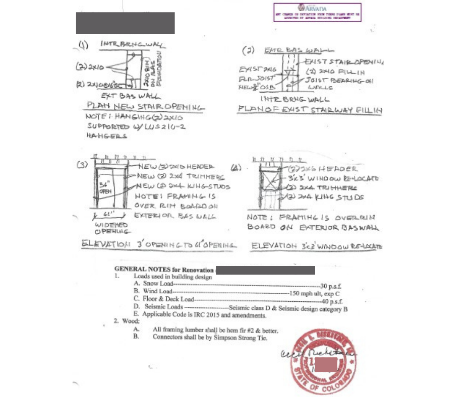 This is 1 of the pages of structural plans and instructions with the engineer's stamp and note from the City of Arvada building department.