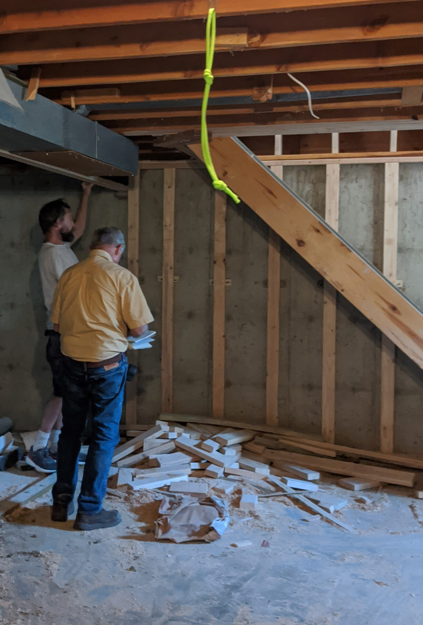 The structural engineer reviewed Josh's construction before the rough structural inspection.