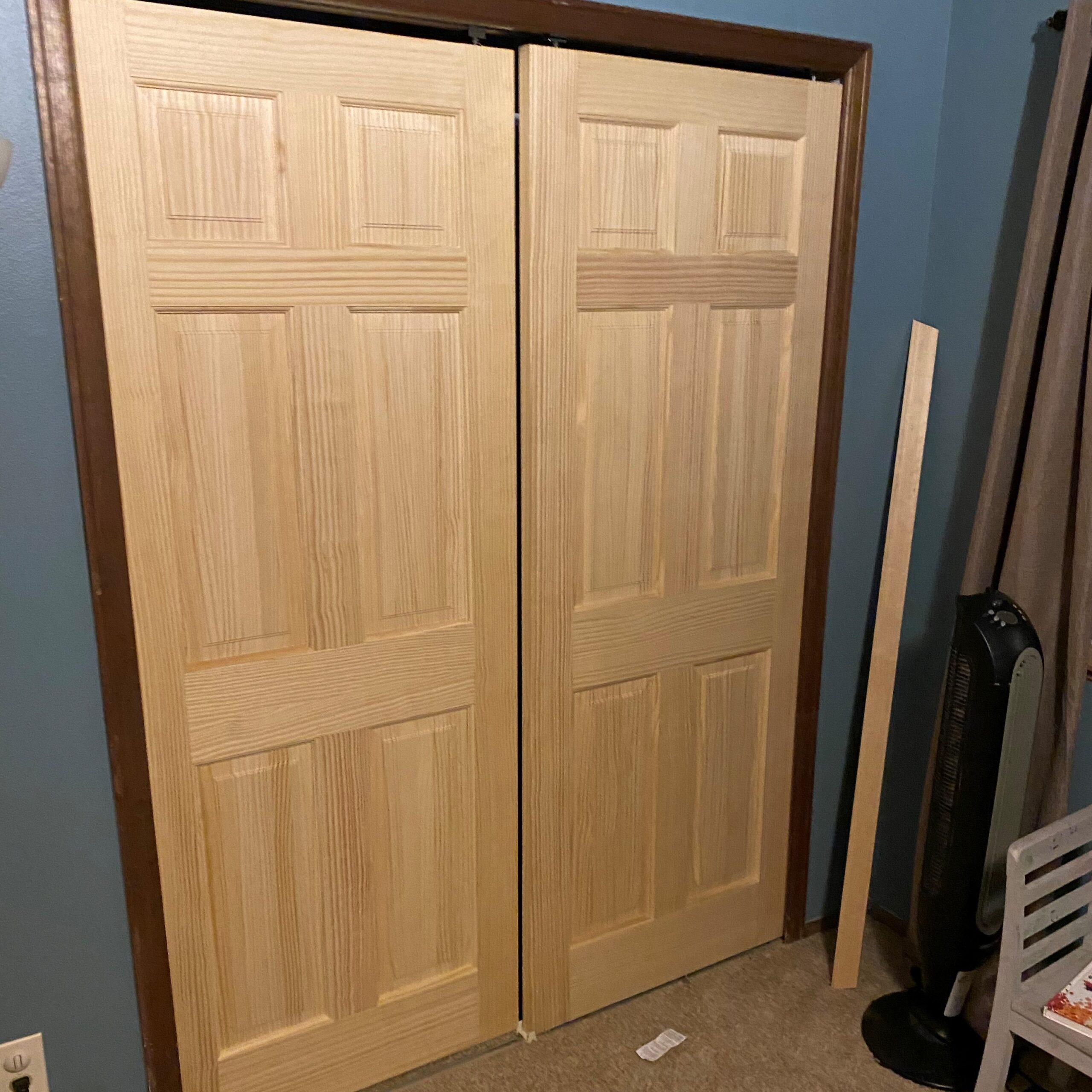 Pine 6-panel bi-pass closet doors