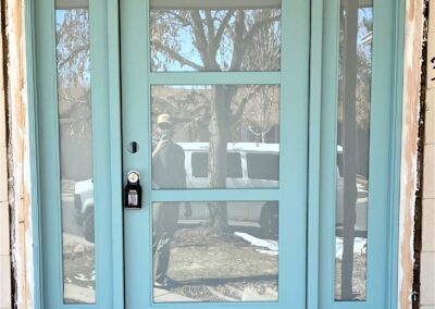Entry door with 3 frosted glass panels and 2 sidelights