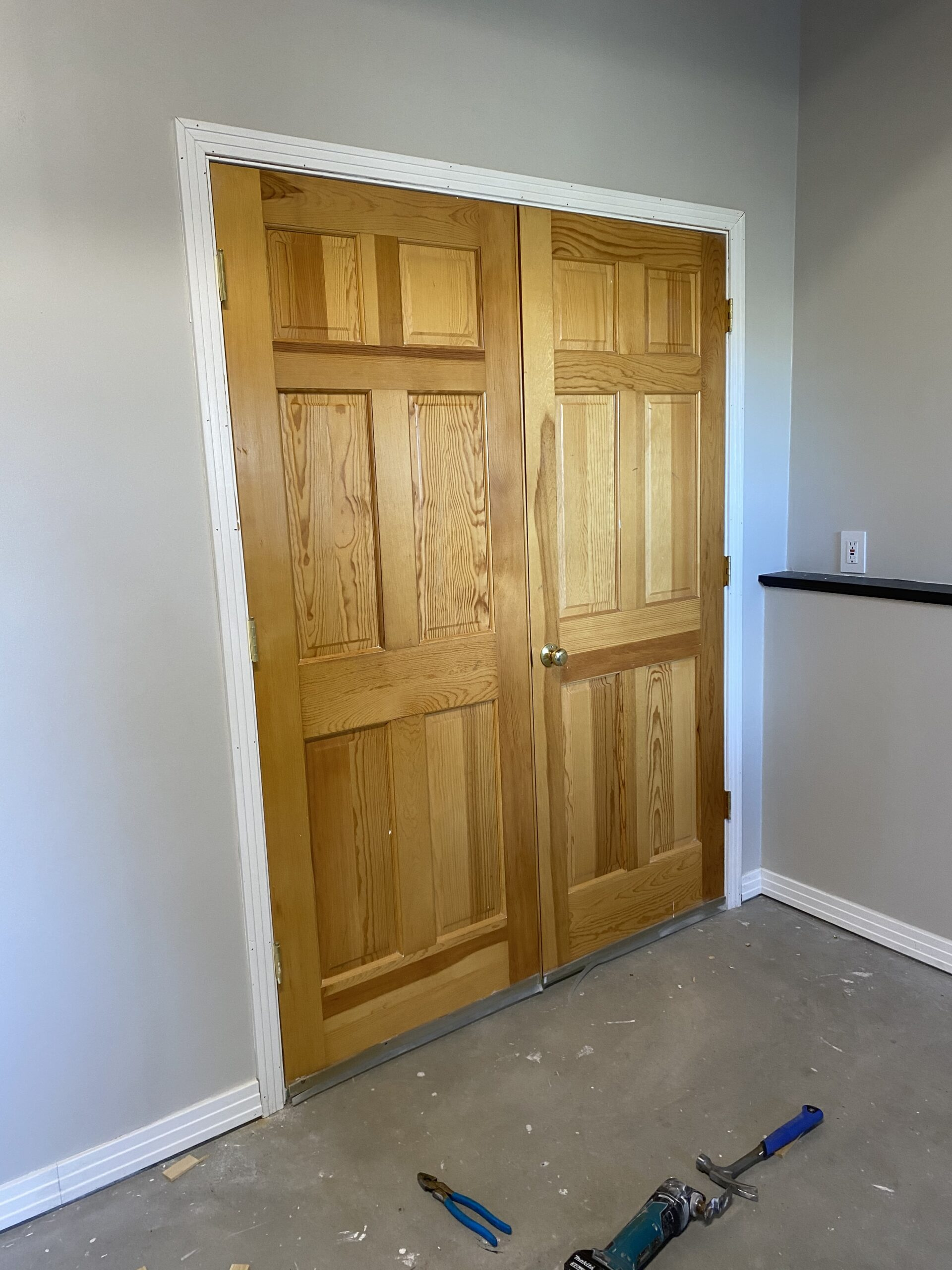 Solid pine 6-panel French doors with trim