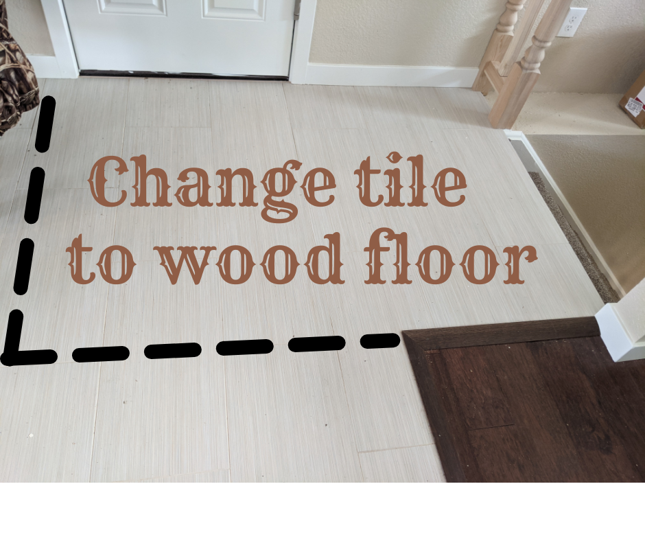 """After we moved and carpeted the original stairs, the top step was ¼"""" too tall, per building code. We had to replace the tile with the thinner hardwood flooring."""